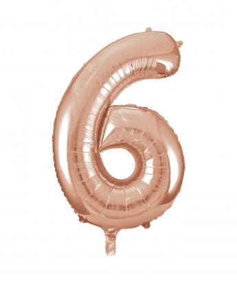 """Fooliumist õhupall -number """"6"""", roosakas kuldne (85 cm)"""