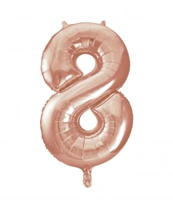 """Fooliumist õhupall -number """"8"""", roosakas kuldne (85 cm)"""