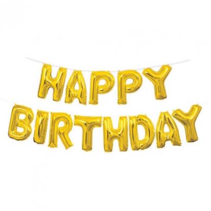 """Fooliumist õhupallide komplekt """"Happy birthday"""", kuldne (35 cm)"""