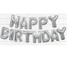 """Fooliumist õhupallide komplekt """"Happy birthday"""", sidabrinis (35 cm)"""