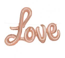 """Fooliumist õhupallide komplekt """"Love"""", roosakas kuldne (35 cm)"""