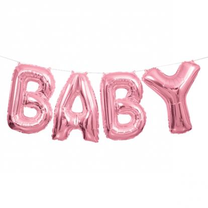 """Fooliumist õhupallide komplekt""""Baby"""", roosa (35 cm)"""
