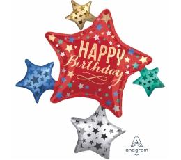 """Fooliumist õhupall """"Happy Birthday Stars"""" (88x81 cm)"""