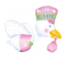 "Fooliumist õhupall ""It's a girl Stork"" (58x81 cm)"