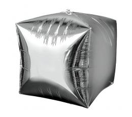 Fooliumist õhupall-kuubik, hõbe (38 cm)
