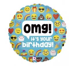 "Fooliumist õhupall ""OMG Emoji birthday"" (46 cm)"