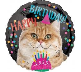 """Fooliumist õhupall """"Sünnipäeva kass"""" (43 cm)"""
