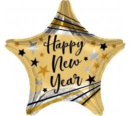 """Fooliumist õhupall - täheke """"Happy New Year"""", kuldne (45 cm)"""
