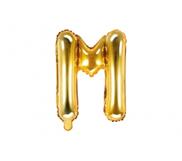 """Fooliumist õhupall-täht """"M"""", kuldne (35 cm)"""