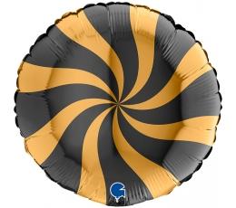 """Fooliumist õhupall """"Vurr"""", must kuldsega (46 cm)"""