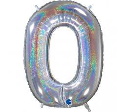 """Fooliumist õhupalli number """"0"""", holograafiline (66 cm)"""