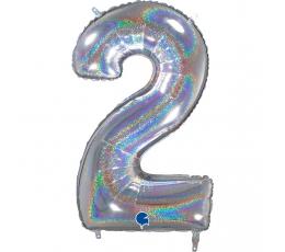 """Fooliumist õhupalli number """"2"""", holograafiline (66 cm)"""