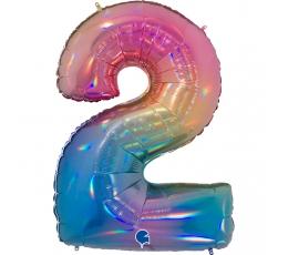 """Fooliumist õhupalli number """"2"""", mitmevärviline (102 cm)"""