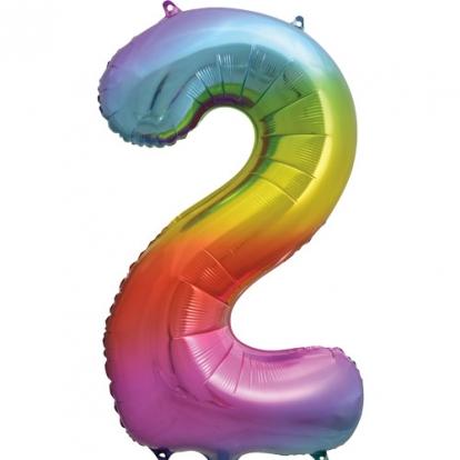 """Fooliumist õhupalli number """"2"""", mitmevärviline pastelne (86 cm)"""