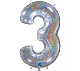"""Fooliumist õhupalli number """"3"""", holograafiline (66 cm)"""