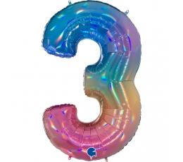 """Fooliumist õhupalli number """"3"""", mitmevärviline (102 cm)"""