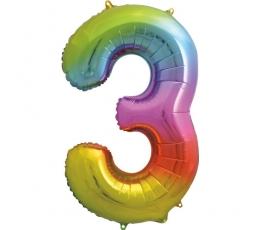 """Fooliumist õhupalli number """"3"""", mitmevärviline pastelne (86 cm)"""