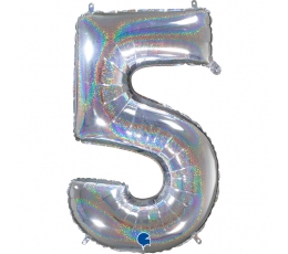 """Fooliumist õhupalli number """"5"""", holograafiline (66 cm)"""