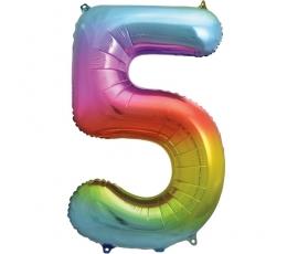 """Fooliumist õhupalli number """"5"""", mitmevärviline pastelne (86 cm)"""