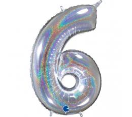 """Fooliumist õhupalli number """"6"""", holograafiline (66 cm)"""
