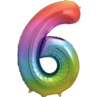 """Fooliumist õhupalli number """"6"""", mitmevärviline pastelne (86 cm)"""