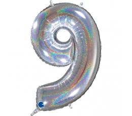 """Fooliumist õhupalli number """"9"""", holograafiline (66 cm)"""