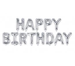 """Fooliumist õhupallide komplekt """"Happy birthday"""", hõbedane (35 cm)"""