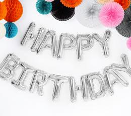 """Fooliumist õhupallide komplekt """"Happy birthday"""", hõbedane (35 cm) 1"""