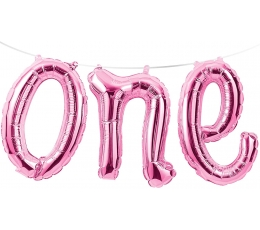 """Fooliumist õhupallide vanik """"One"""", roosa"""