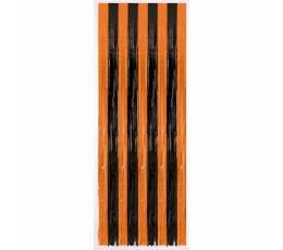 Fooliumkardin-vihm, oranž-must (243 x 91 cm)