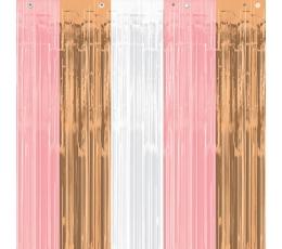 Fooliumkardin-vihm, roosakas - kuldne (243x91 cm)
