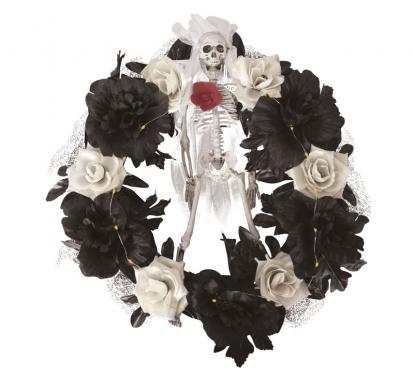 """Helendav Halloweeni pärg """"Luukere roosides (40 cm)"""""""