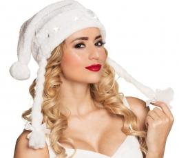 Helendav punupatsidega jõulumüts, valge 1