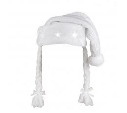 Helendav punupatsidega jõulumüts, valge