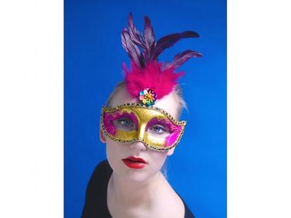 Karnevalimask - kuldne, roosade sulgedega