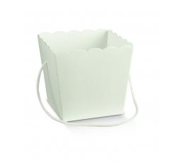 Karp-ämber suur, valge käepidemetega (15X15X18 cm)