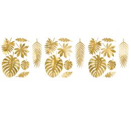 """Kaunistused """"Troopilised lehed"""", kuldsed (21 tk)"""