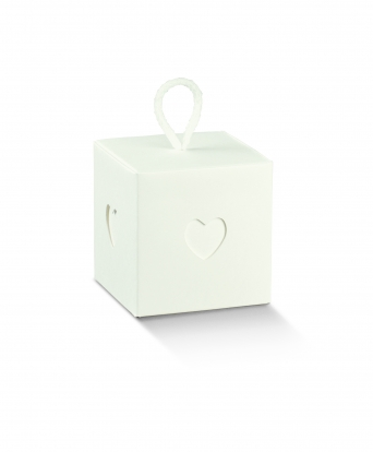 "Kinkekarp akendega ""Süda"", valge (10x10x10 cm)"