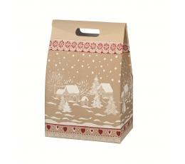 "Kinkekarp käepidemetega ""Lumine küla"" (28X20X41 cm)"