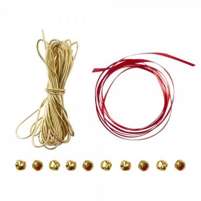 Kinkepakkide komplekt kellukestega, punane-kuldne