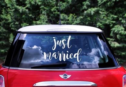 """Kleebised autole """"Just Married"""" (33x45cm)"""