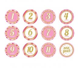 """Kleepsud """" Esimese aasta"""", roosad läikivad (12 tk)"""