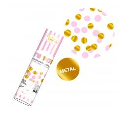 Konfetikahur, roosa - kuldsed (20 cm)