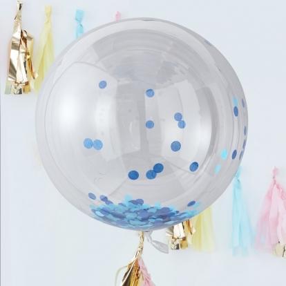 Kummist õhupallid-orbz, helesiniste konfettidega (3 tk./91 cm)
