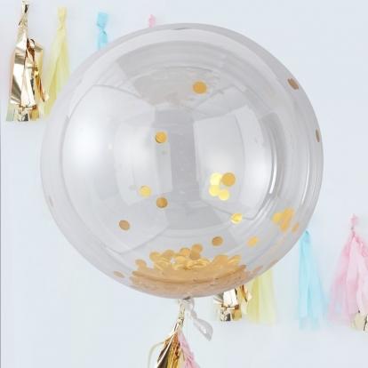 Kummist õhupallid-orbz, läikivate kuldsete konfettidega (3 tk./91 cm)