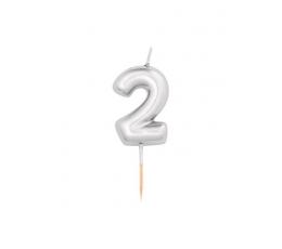 """Küünal """"2"""", hõbedane (8 cm)"""