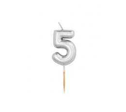 """Küünal """"5"""", hõbedane (8 cm)"""