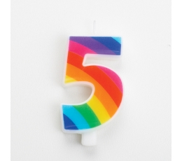 """Küünal """"5"""", vikerkaarevärvi, särisev"""