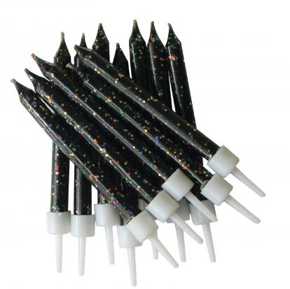 Küünlad, mustad läikivad (12 tk)