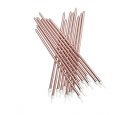 Küünlad, pikad roosakaskuldsed (16 tk / 18 cm)